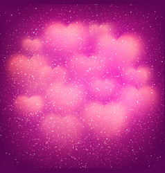 romantic background with glowing blurred hearts vector image