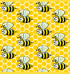seamless pattern cartoon bees on honeycombs vector image
