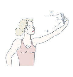 selfie on smartphone girl with gadget taking photo vector image
