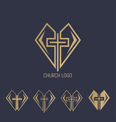 Set logo church logo cross with heart vector