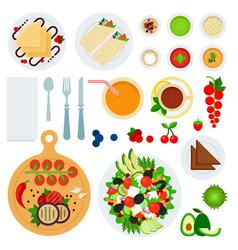 set morning food flat vector image