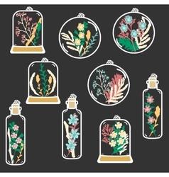 Set of hand drawn floral terrariums clip vector