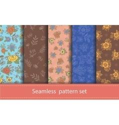 Set seamless floral patterns decorative vector