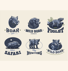 set vintage wild boar emblems vector image