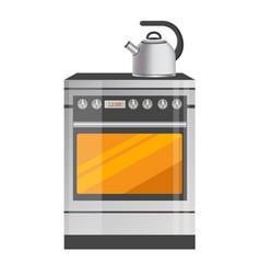 shiny metallic kettle on brand-new kitchen stove vector image