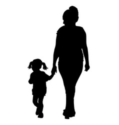 silhouette a mother walking hand vector image