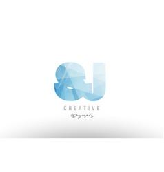sj s j blue polygonal alphabet letter logo icon vector image