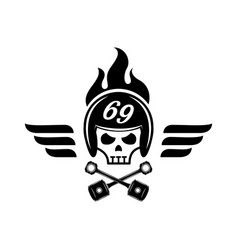 Skull with helmet on fire logo with wing vector