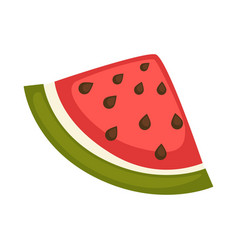 slice watermelon with red flesh and black seeds vector image