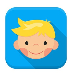 Smiling boy face app icon with long shadow vector image