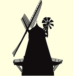 Smock windmill silhouette vector