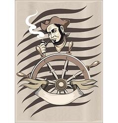 Smoking seaman behind a wheel vector