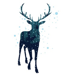 Snowy Winter Forest with Deer4 vector
