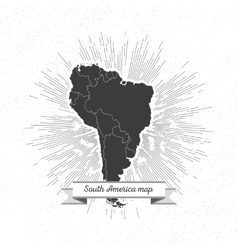 South america map with vintage style star burst vector image