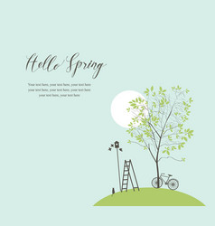 spring landscape with green tree and bike vector image