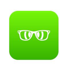 sunglasses icon digital green vector image