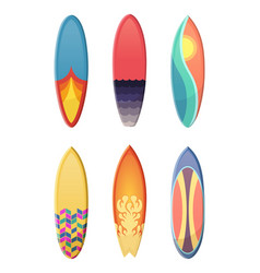 Surfboards set different retro colors vector