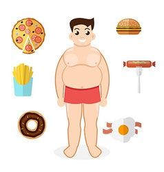 Unhealthy lifestyle fat man obesity vector