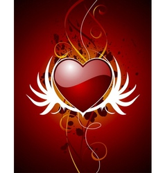 Valentine hearth with wing vector