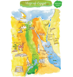 watercolor map of attractions egypt vector image
