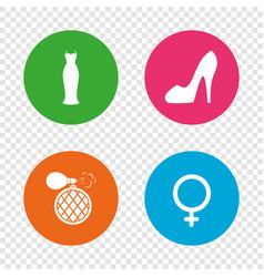 Wedding dress icon women shoe sign perfume vector