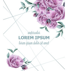 Wedding invitation rose flowers watercolor frame vector