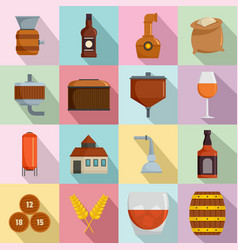 Whisky bottle glass icons set flat style vector