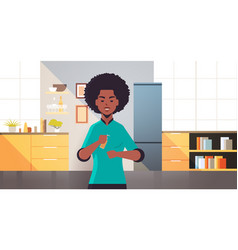 Woman applying antibacterial spray disinfection vector
