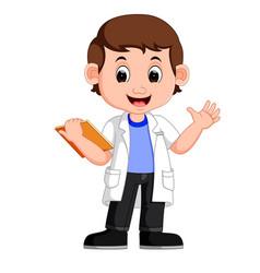 young boy scientist vector image