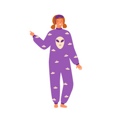 Young cheerful woman wearing cozy pajamas female vector