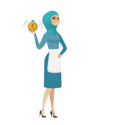 young muslim cleaner holding alarm clock vector image