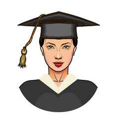 young woman in graduation cap isolated vector image
