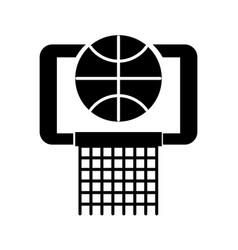 black icon basket ball in the hoop cartoon vector image