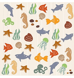 Seamless ocean life pattern 2 vector image