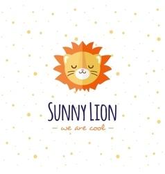 cartoon lion head logo Flat logotype vector image vector image