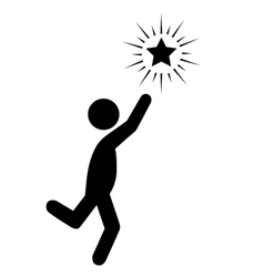 Reach the star people flat icons pictogram vector