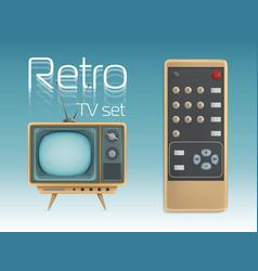 retro tv set and remote control vector image