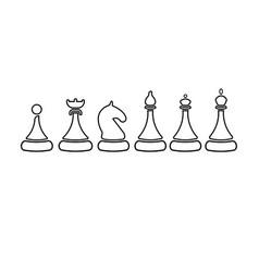 set of sketch chess figures - king queen vector image