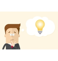Thoughtful businessman or manager fancies the idea vector image