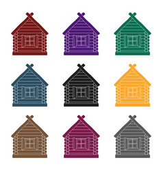 wooden house icon in black style isolated on white vector image vector image