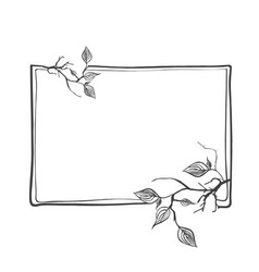 abstract branch frame with leaves and copyspace vector image