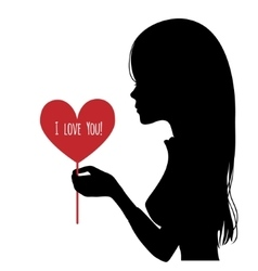 Black silhouette of woman with heart in hand vector image vector image