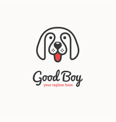 cute happy dog face logo vector image vector image