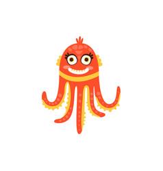 cute octopus funny sea creature hand drawn vector image vector image