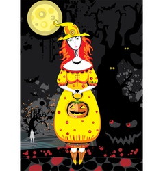 halloween witch cemetery night vector image vector image
