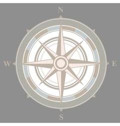 Vintage nautical or marine compass on gray vector image