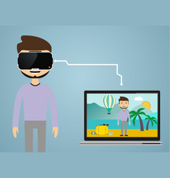 virtual reality concept in flat style vr gaming vector image