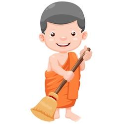 young monk cartoon vector image