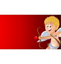 Cartoon cupid showing a blank red background vector image vector image