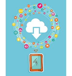 Cloud computing smart phone concept vector image vector image